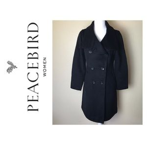 Peacebird wool double breasted black trench coat